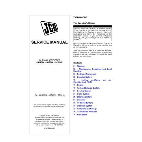 JCB JS145W, JS160W, JS20 MH wheeled excavator pdf service manual  - JCB manuals