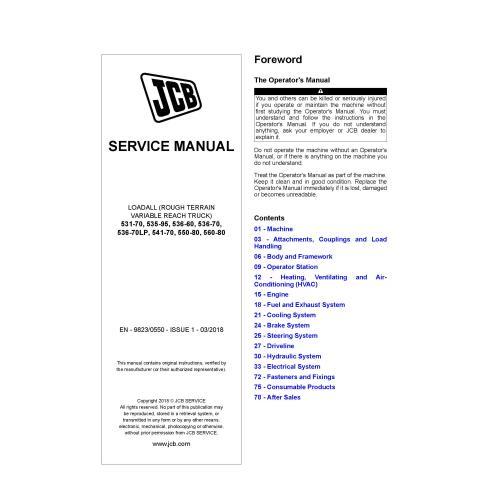 JCB 531-70, 535-95, 536-60, 536-70, 536-70LP, 541-70, 550-80, 560-80 loadall pdf service manual  - JCB manuals