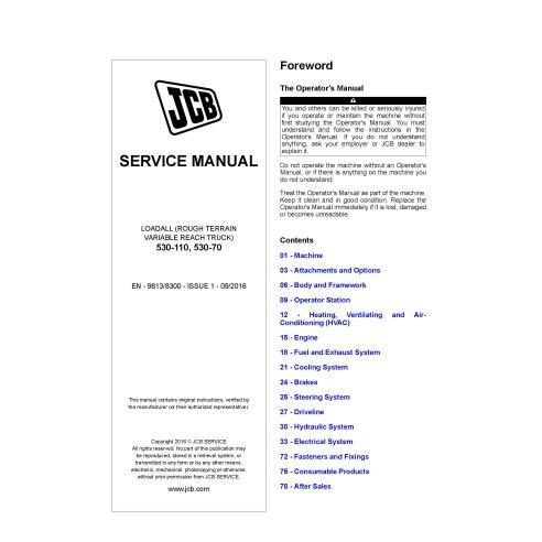 JCB 530-110, 530-70 loadall pdf service manual  - JCB manuals