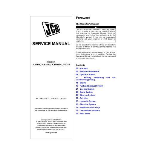 JCB JCB116, JCB116D, JCB116DD, VM116 roller pdf service manual  - JCB manuals