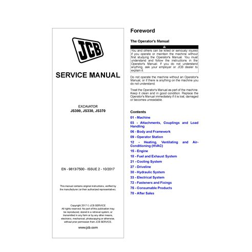JCB JS300, JS330, JS370 excavator pdf service manual  - JCB manuals