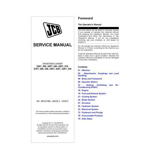 JCB 225T, 250, 250T, 260, 260T, 270, 270T, 280, 300, 300T, 320T, 325T, 330 skid loader pdf service manual  - JCB manuals