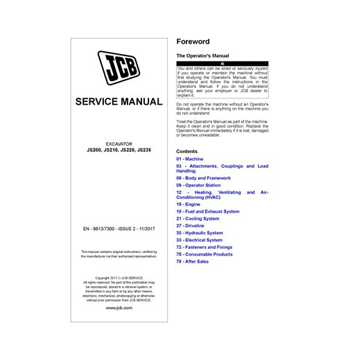 JCB JS200, JS210, JS220, JS235 Issue 2 excavator pdf service manual  - JCB manuals