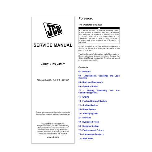 JCB 411HT, 413S, 417HT wheel loader pdf service manual  - JCB manuals