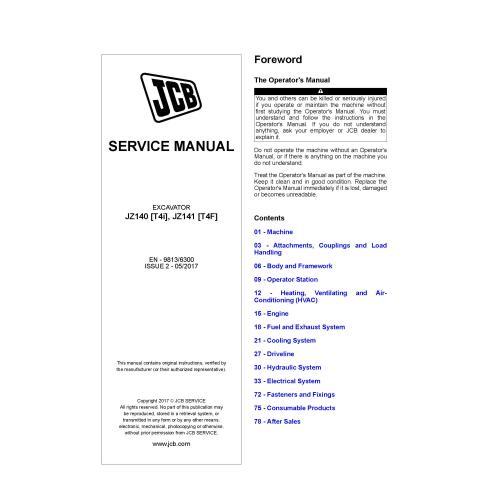 JCB JZ140 [T4i], JZ141 [T4F] excavator pdf service manual  - JCB manuals