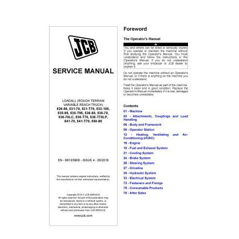 JCB 526-56, 531-70, 533-105 535-95, 535-T95, 536-70, 536-70LC, 536-T70, 541-70, 550-80 loadall pdf service manual  - JCB manuals