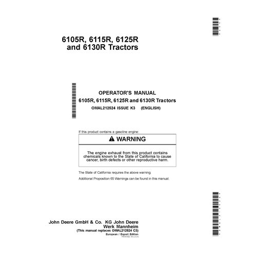 John Deere 6105R, 6115R, 6125R, 6130R tractor pdf operator's manual  - John Deere manuals
