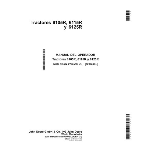 John Deere 6105R, 6115R, 6125R tractor pdf operator's manual ES - John Deere manuals