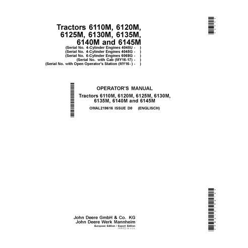John Deere 6110M, 6120M, 6125M, 6130M, 6135M, 6140M, 6145M tractor pdf operator's manual  - John Deere manuals