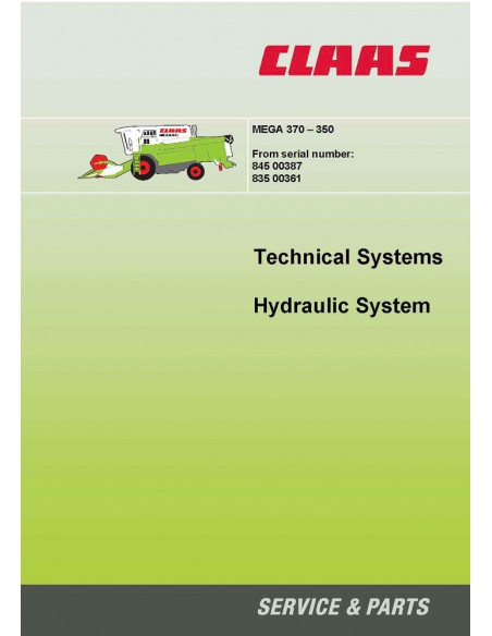 Technical systems manual for Claas Mega 370 - 350 combine harvester, PDF-Claas