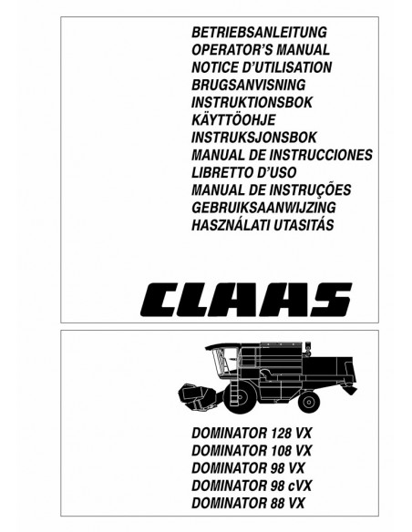 Operator's manual for Claas Dominator 128 VX - 88 VX combine harvester, PDF-Claas