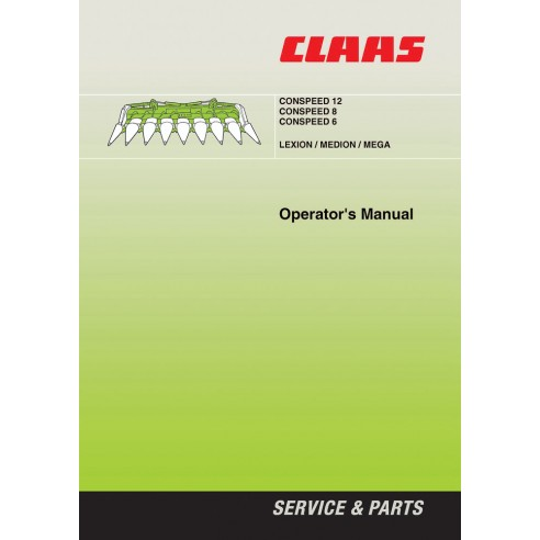 Operator's manual for Claas CONSPEED 12, CONSPEED 8, CONSPEED 6 header, PDF-Claas