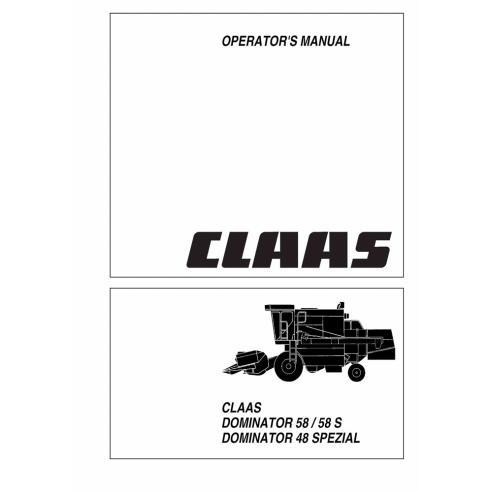 Manual del operador de la cosechadora Claas Dominator 58/58 S, Dominator 48 SPEZIAL - Claas manuales