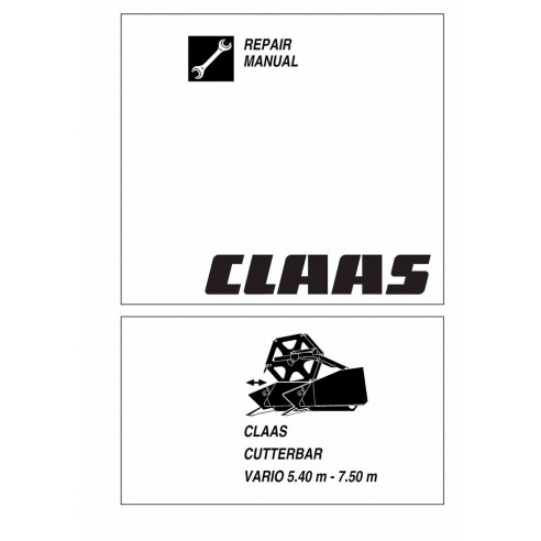 Repair manual for Claas Vario 5.40 m - 7.50 m cutterbar, PDF-Claas