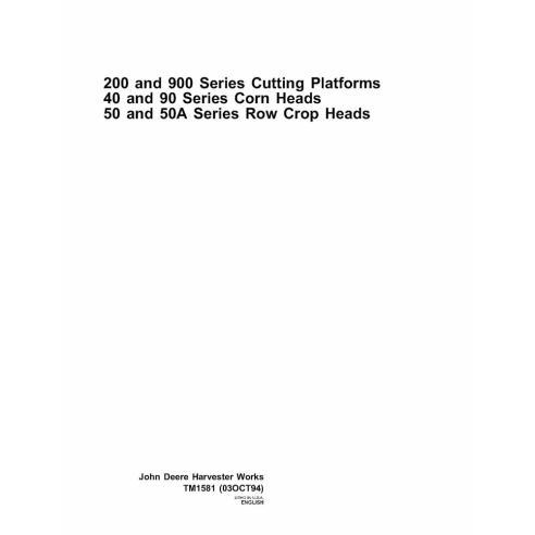Manual de reparación de la plataforma de corte John Deere serie 200 y 900 - John Deere manuales