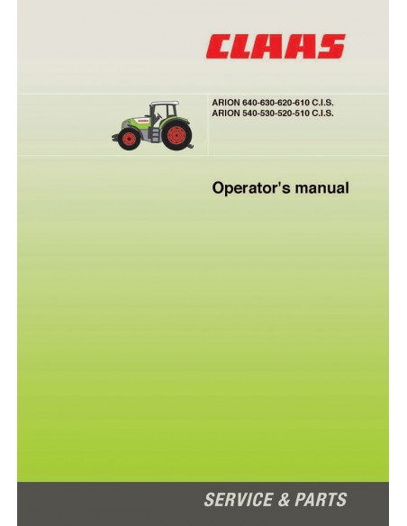 Operator's manual for Claas 	Arion 510 - 540 C.I.S., 610 - 640 C.I.S. tractor, PDF-Claas