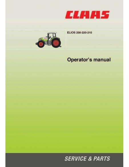 Operator's manual for Claas Elios 210 - 220 - 230 tractor, PDF-Claas
