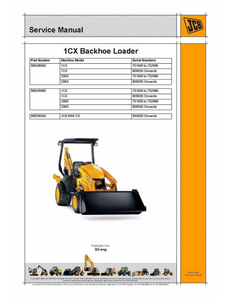 Service manual for JCB 1CX backhoe loader, PDF-JCB
