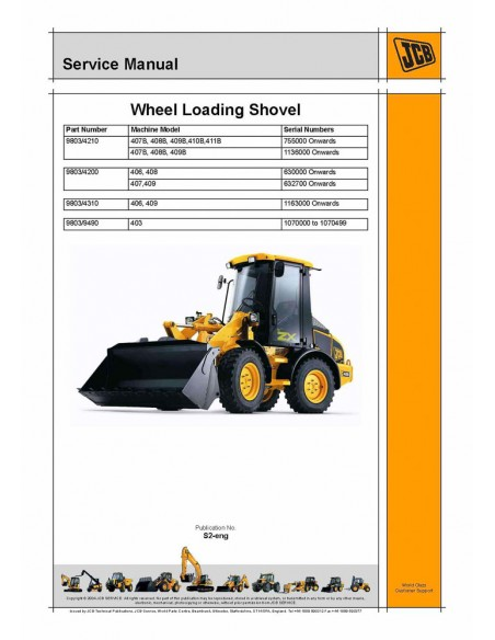 Jcb 406 - 407 - 408 - 409 wheel loader service manual - JCB manuals