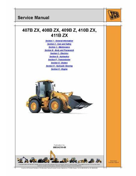 Service manual for JCB 407B ZX - 408B ZX - 409B Z - 410B ZX - 411B ZX wheel loader, PDF-JCB