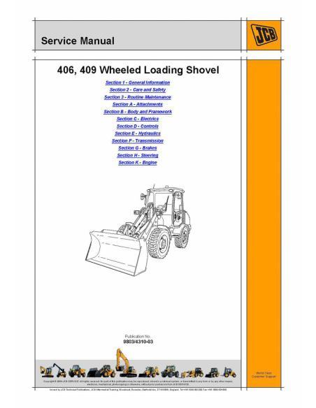 Service manual for JCB 406, 409 wheel loader, PDF-JCB
