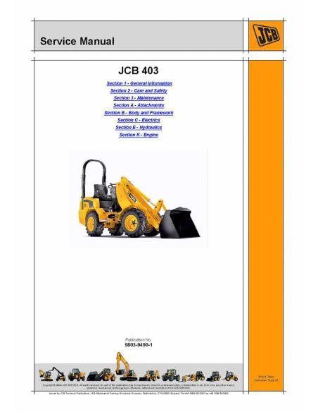 Service manual for JCB 403 wheel loader, PDF-JCB