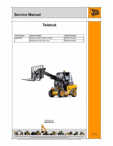 Service manual for JCB Teletruk 2.0 D/G, 2.5D/G, 3.0 D/G, 4x4 3.0D, 4x4 3.5 D forklift, PDF-JCB
