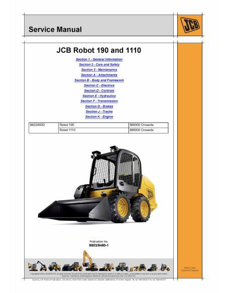 Jcb Robot 190 and 1110 skid loader service manual - JCB manuals