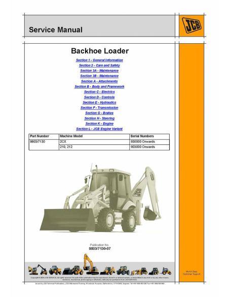 Service manual for JCB 2CX, 210, 212 backhoe loader, PDF-JCB