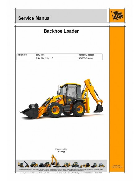 Jcb 3CX, 4CX, 214, 214e, 215, 217 backhoe loader service manual-JCB