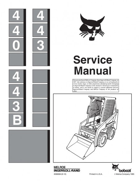 Service manual for Bobcat 440, 443, 443 B loader, PDF-BobCat