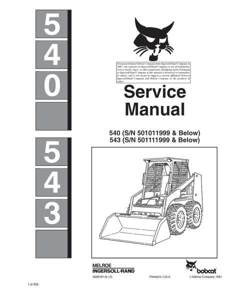 Bobcat 540, 543 loader service manual - BobCat manuals