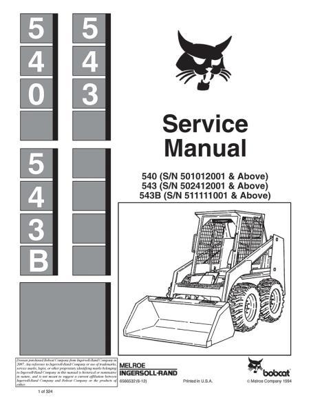 Service manual for Bobcat 540, 543, 543B loader, PDF-BobCat