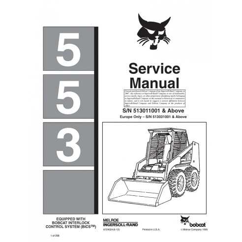 Manual de serviço do carregador Bobcat 553 - BobCat manuais