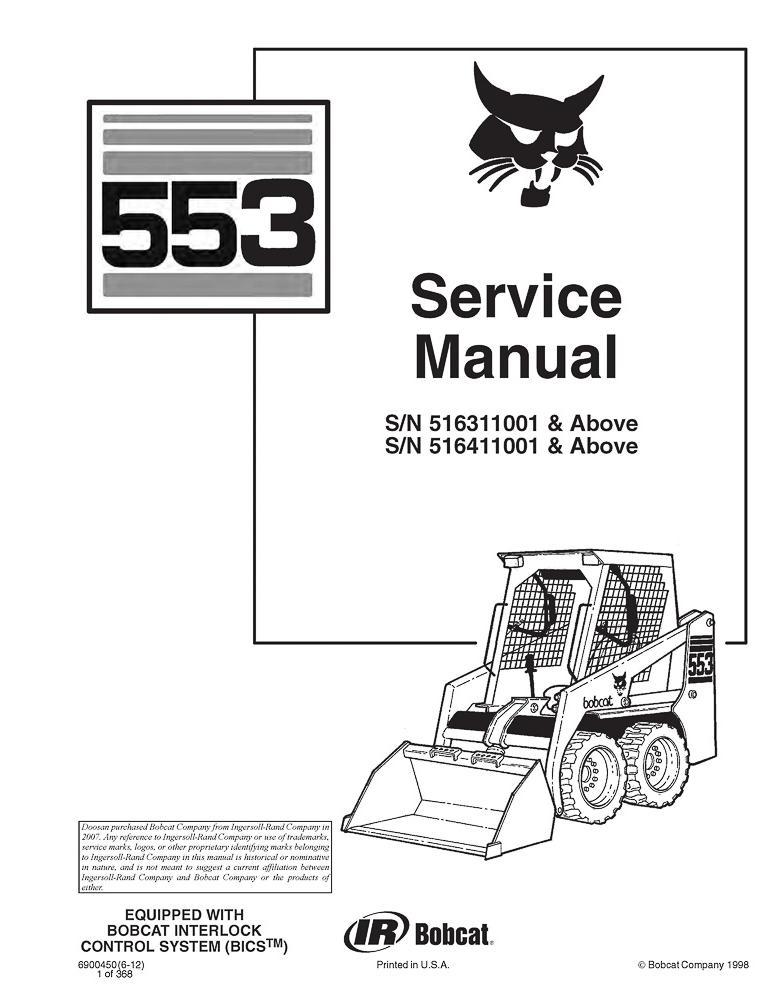 Service manual for Bobcat 553 loader, PDF