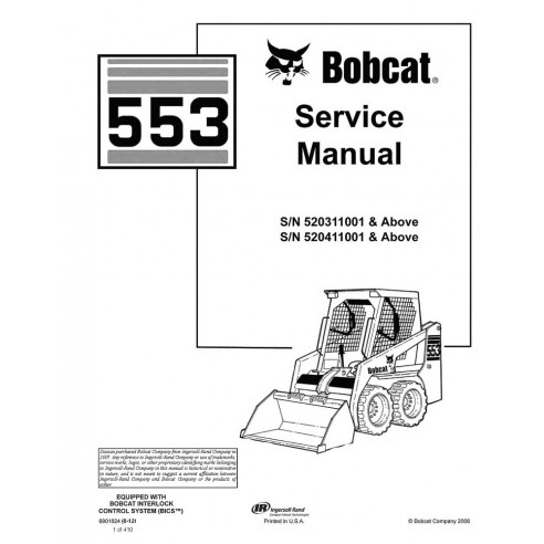 Service manual for Bobcat 553 loader, PDF-BobCat