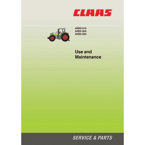 Maintenance manual for Claas Ares 816 - 826 - 836 tractor, PDF-Claas