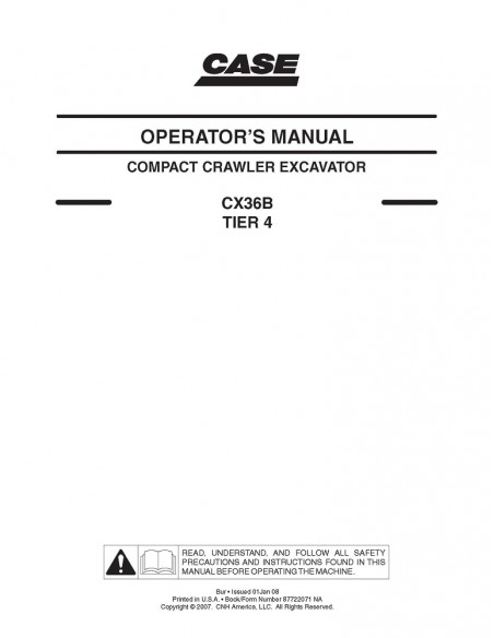 Case CX31B, CX36B mini excavator operator's manual - Case manuals