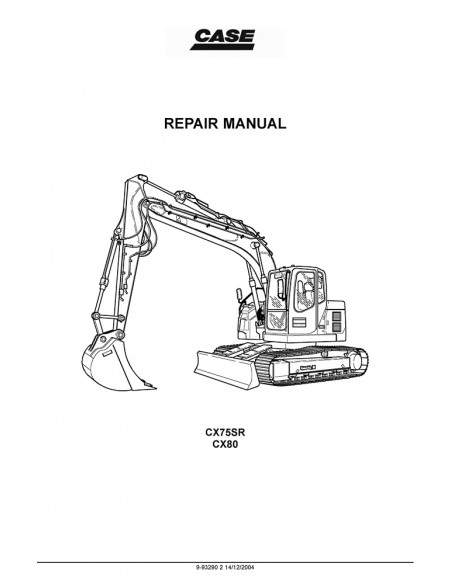 Repair manual for Case CX75SR, CX80 mini excavator, PDF-Case