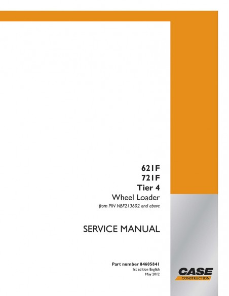 Service manual for Case 621F, 721F, TIER 4 wheel loader, PDF-Case
