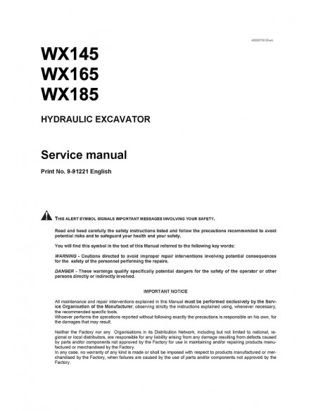 Service manual for Case WX145, WX165, WX185 excavator, PDF-Case
