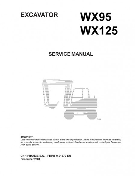 Service manual for Case WX95, WX125 excavator, PDF-Case