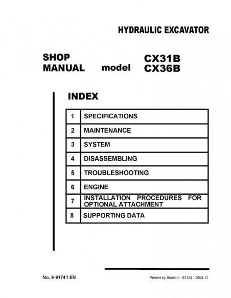 Case CX31B, CX36B mini excavator shop manual - Case manuals