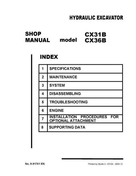 Shop manual for Case CX31B, CX36B mini excavator, PDF-Case