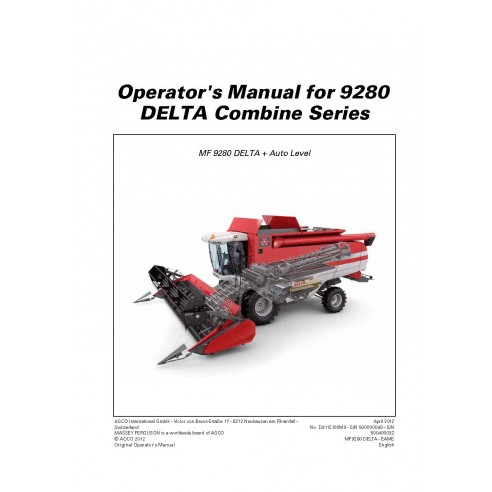 Operator's manual for Massey Ferguson MF 9280 DELTA combine harvester, PDF-Massey Ferguson service repair workshop manuals