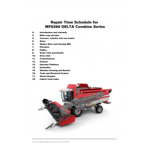 Repair Time Schedule for Massey Ferguson MF DELTA 9280 combine harvester, PDF-Massey Ferguson service repair workshop manuals