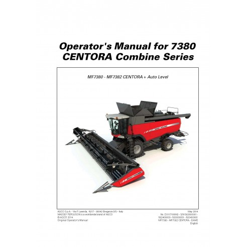 Operator's manual for Massey Ferguson MF 7380 CENTORA combine harvester, PDF-Massey Ferguson service repair workshop manuals
