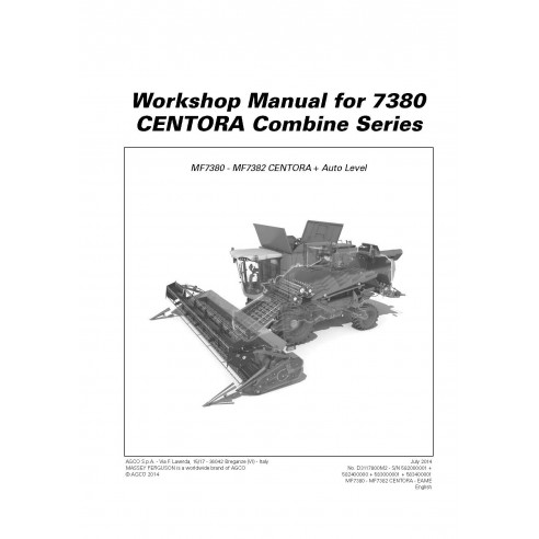 Workshop manual for Massey Ferguson MF 7380 CENTORA combine harvester, PDF-Massey Ferguson service repair workshop manuals