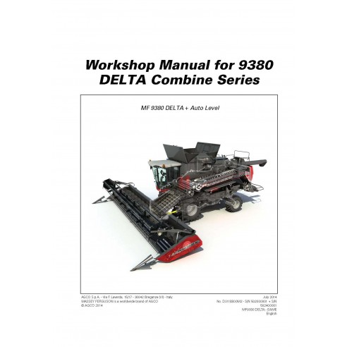 Workshop manual for Massey Ferguson MF 9380 DELTA combine harvester, PDF-Massey Ferguson service repair workshop manuals