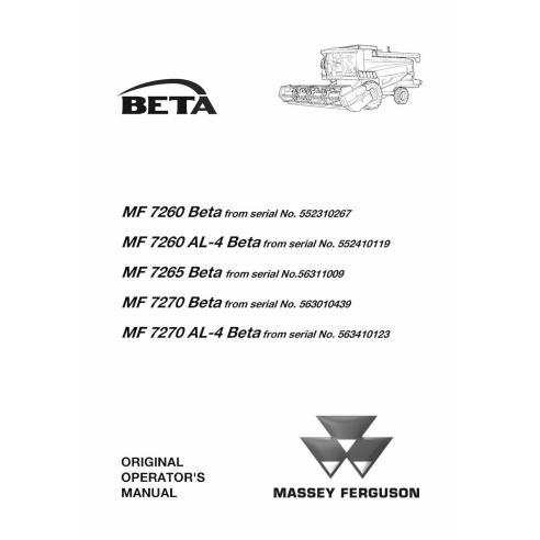 Manual del operador de cosechadoras combinadas Massey Ferguson MF 7260, 7265, 7270 BETA - Massey Ferguson manuales